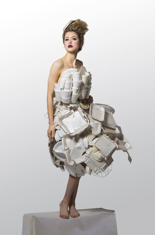 Takeaway Queen wearable art by Marina DeBris. Photo by Richard Flynn. Outfit is made of takeaway containers found in Ballona Creek or washed up on the beaches of Los Angeles.