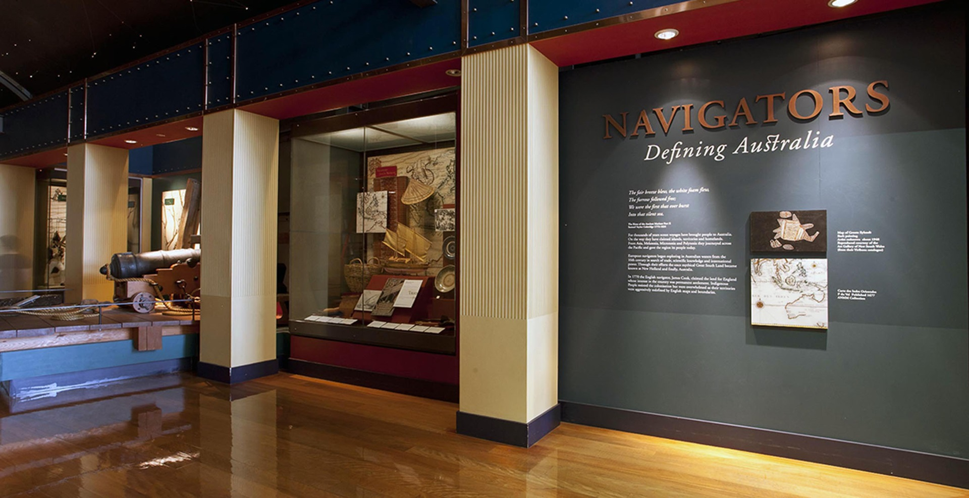 Exhibition space in the Navigators gallery at the Australian National Maritime Museum