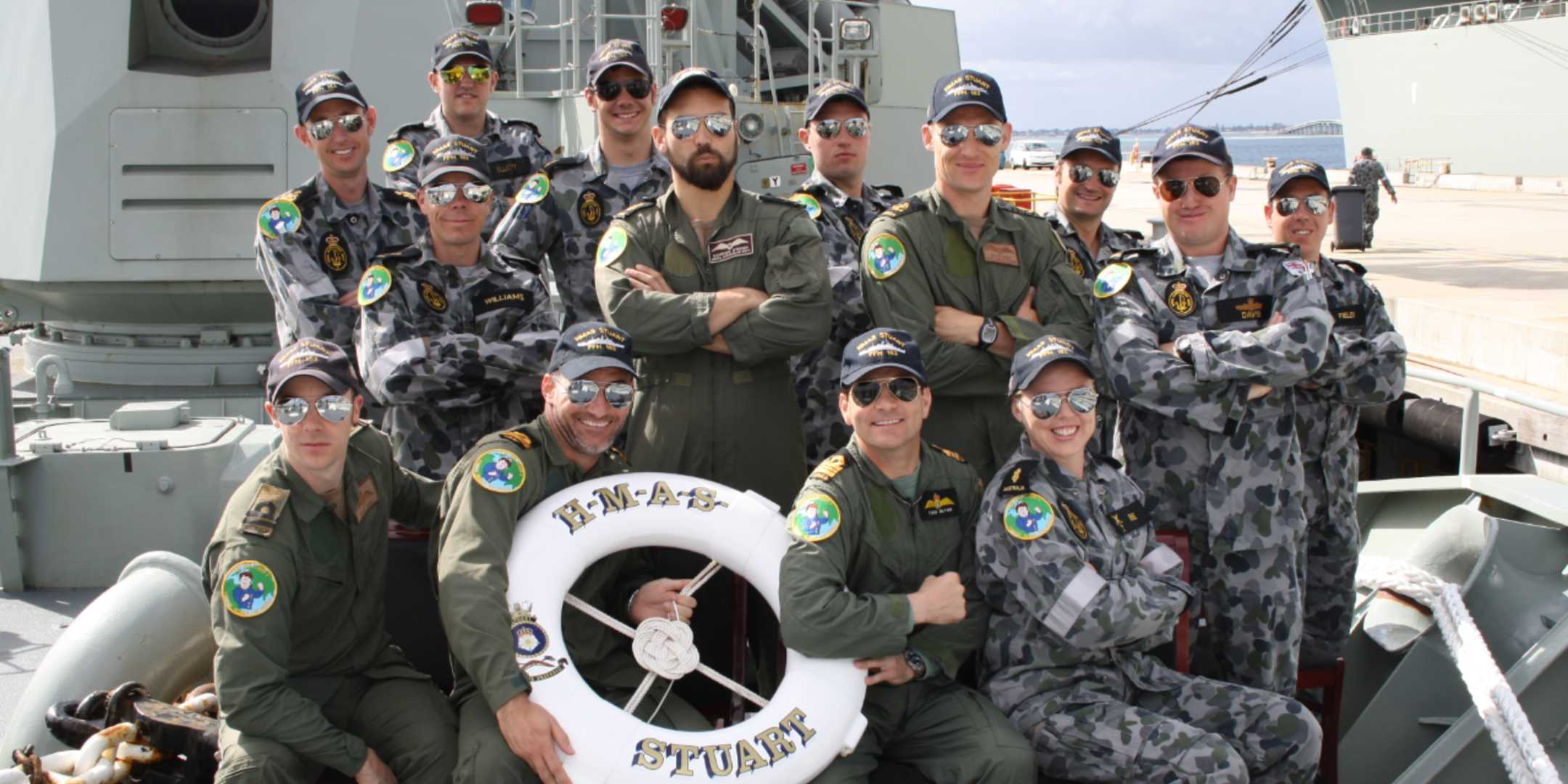 Todd Glynn (seated third from left), with the Tiger 75 flight crew for Operation Slipper 2011