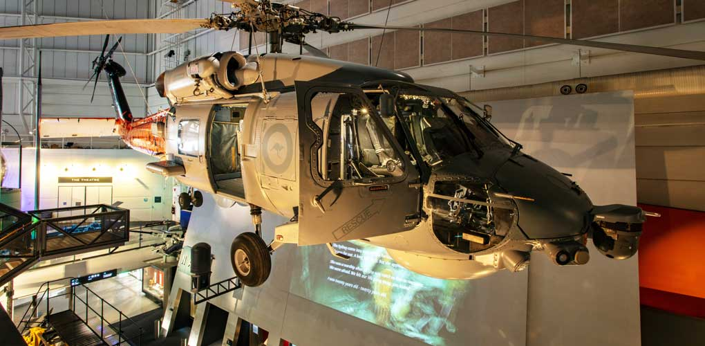 Navy Gallery - Seahawk Helicopter suspended from the ceiling