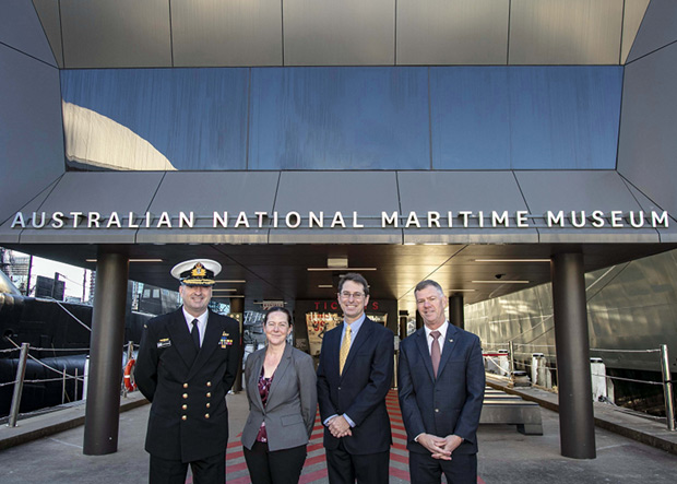 (L to R) Rear Admiral Jonathan Mead, Royal Australian Navy and Australian National Maritime Museum Councillor; Lee Kormany, Nova Systems, General Manager - Maritime, Land & Future Systems; Steven Robinson, Nova Systems, Chief Executive - Australia New Zealand; Scott Thompson, Lockheed Martin, Deputy Country Executive at Lockheed Martin Australia.