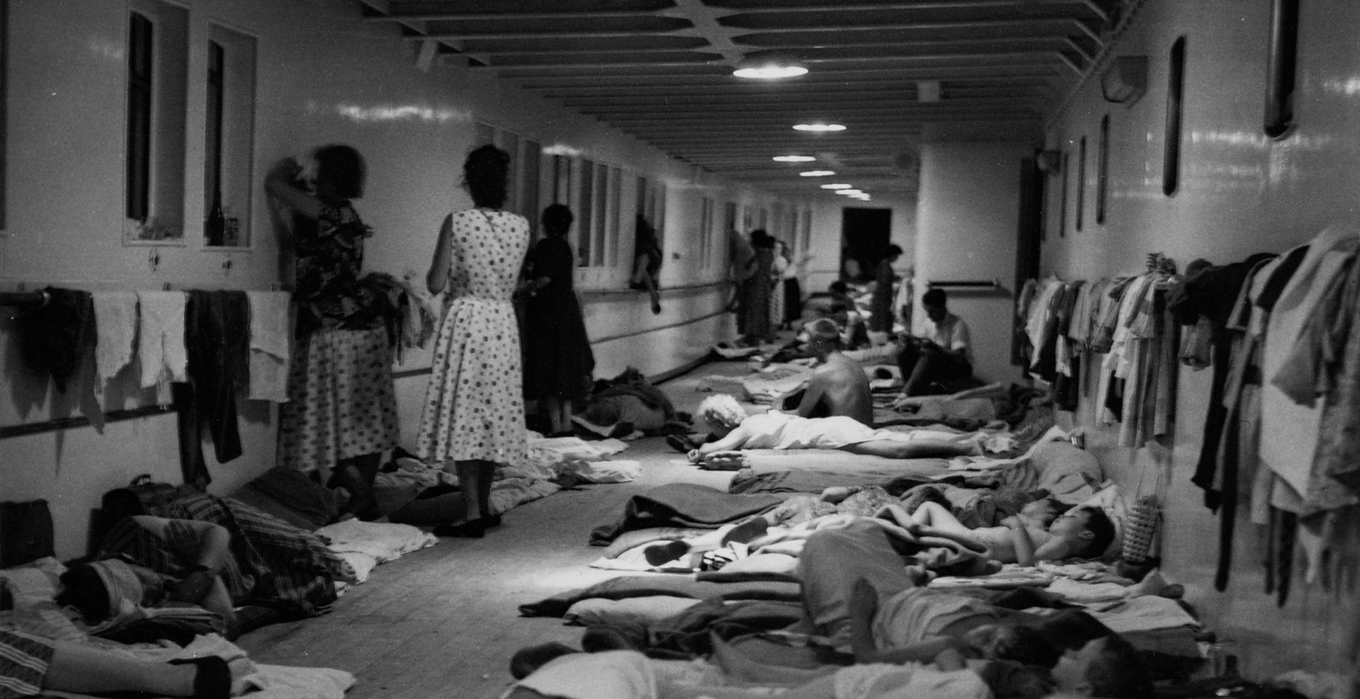 Temporary accommodation for Skaubryn survivors on the deck of Roma, 1958. ANMM Collection Gift from Barbara Alysen ANMS0214[063]. Reproduced courtesy International Organisation for Migration