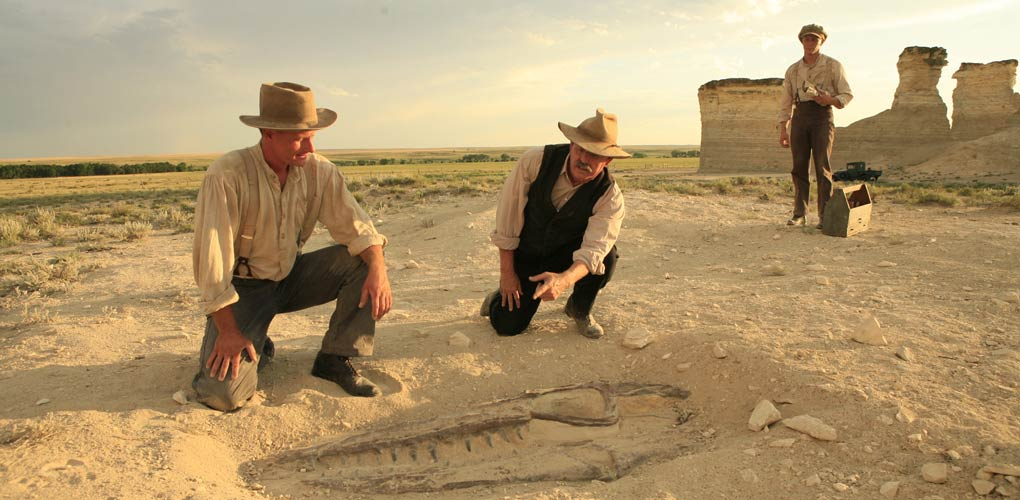 The 1918 discovery in Kansas of a Tylosaurusfossil by Charles Steinberg and his sons is recreated for the Sea Monsters 3D film. Photo by Mark Thiessen ©National Geographic Giant Screen Films.