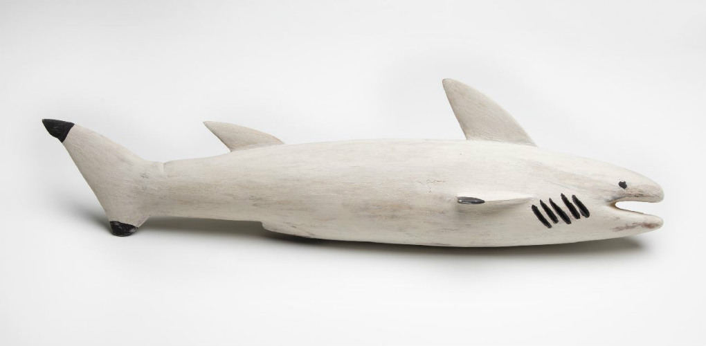 CHARLIE YIRRAWALA - Shark, 22 x 82 x 17.5 cm, Earth pigments (ochres) on wood, 1989. ANMM Collection 00015639 Gift from Garry Anderson © Charles Yirrawala/Copyright Agency, 2018