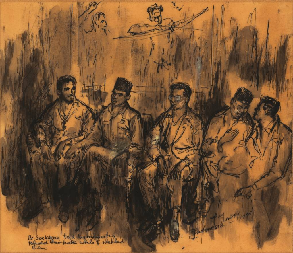 Dr. Sukarno's ministers by Tony Rafty, c. 1945. National Library of Australia