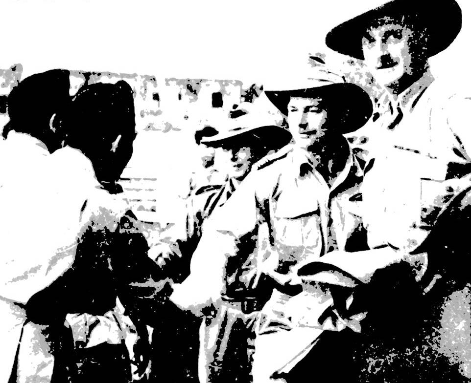 Australian military observers being welcomed by Republican officers in Yogyakarta on 14 September 1947. National Library of Australia