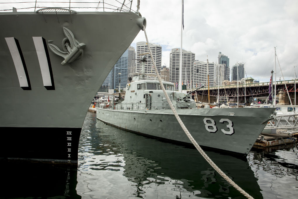 HMAS Advance (00017905), Attack Class patrol boat, pennant number P 83, alongside HMAS Vampire. Photo: ANMM